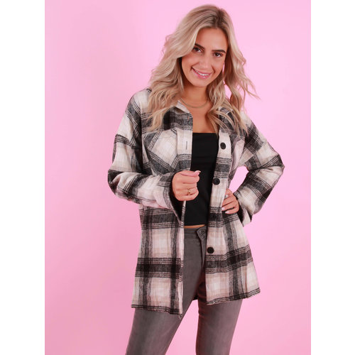 WHITE ICY Check Blouse Grey/Beige