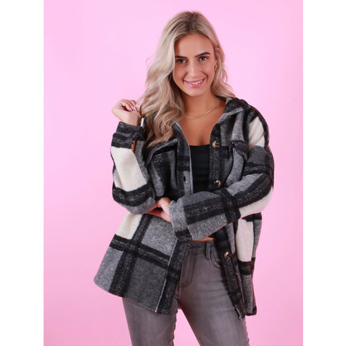 BELLAVIE Checkered Jacket Black
