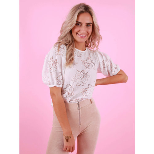 DAPHNEA Lace Top White