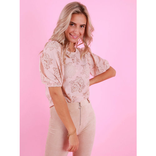 DAPHNEA Lace Top Pink