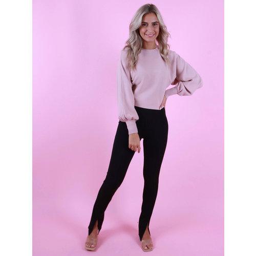 EIGHT PARIS Front Split Trousers Black