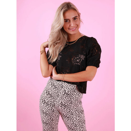 DAPHNEA Lace Top Black