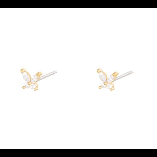 LADYLIKE Earrings Diamond Butterfly Gold