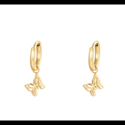 LADYLIKE Earrings Floating Butterfly Gold