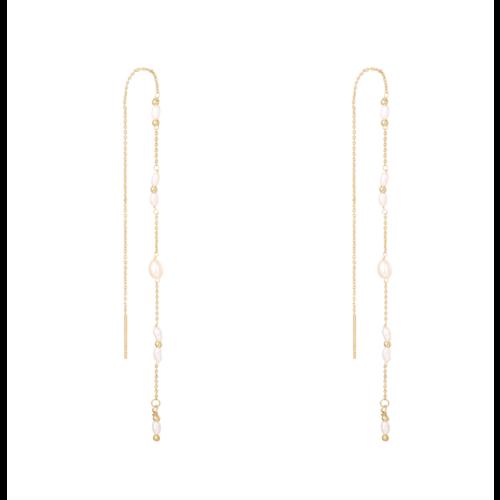 LADYLIKE Earrings Drop Down Pearl Gold