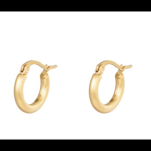 LADYLIKE Earrings Hoops Twisted 15 mm Gold