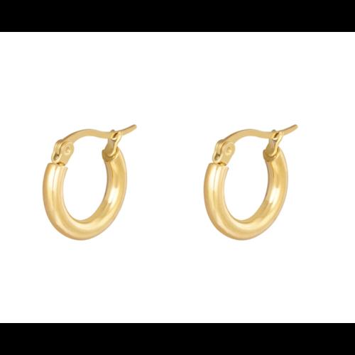 LADYLIKE Earrings Hoops Smooth 15 mm Gold