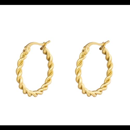 LADYLIKE Earrings Hoops Twine 22 mm Gold
