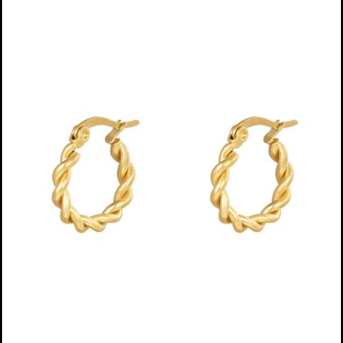 LADYLIKE Earrings Hoops Twine 15 mm Gold