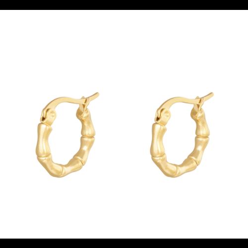 LADYLIKE Earrings Hoops Bamboo 15 mm Gold