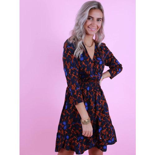 AN'GE Mathias Dress Printed Short Dress Rust