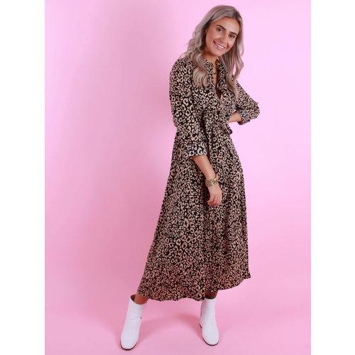 DRŌLE DE  COPINE Maxi Dress Leopard Print Black