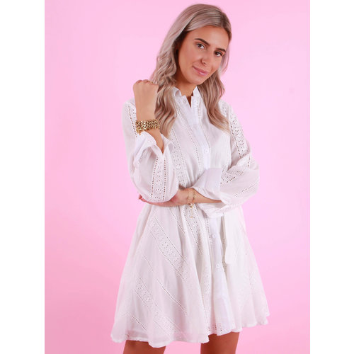 WHITE ICY Dress With Lace Detail White