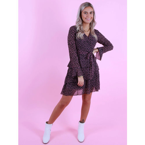 By Clara Dress With Dots Black/Purple