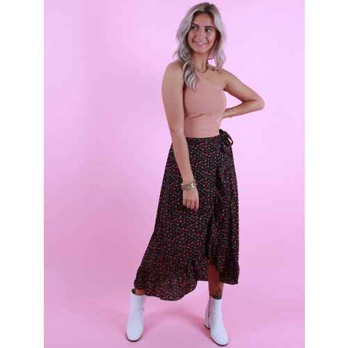 BY CLARA Small Floral Print Skirt Black