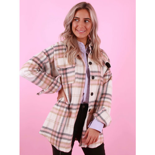 MYBEL Checkered Jacket White/Pink