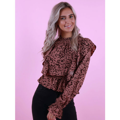 VERA & LUCY Long Sleeve Printed Ruffle Top Rose