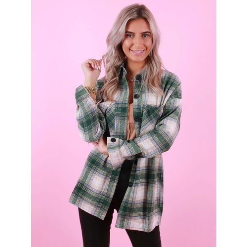 WHITE ICY Checkered Blouse Green/Blue