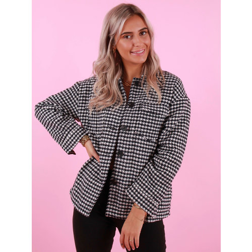 BY CLARA Pied de Poule Jacket Black