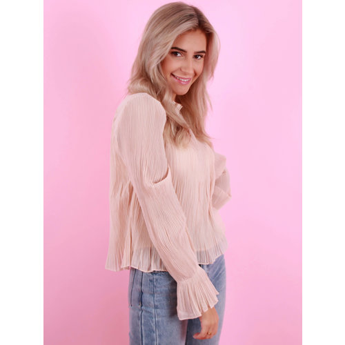 Bisou's Project Plisse Blouse Beige