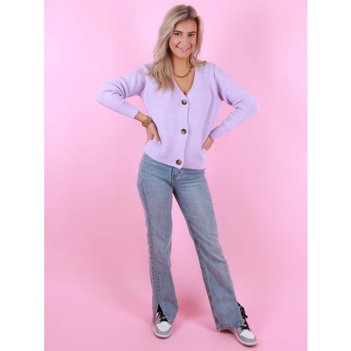 BY CLARA Button Cardigan Lilac