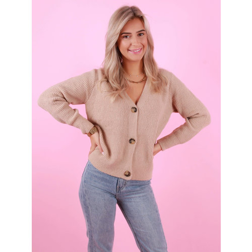 BY CLARA Button Cardigan Camel