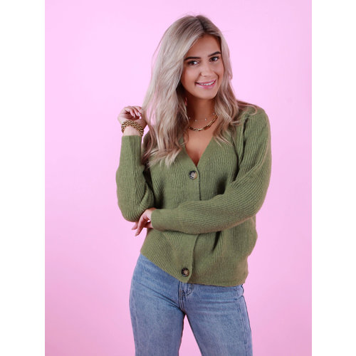 BY CLARA Button Cardigan Green