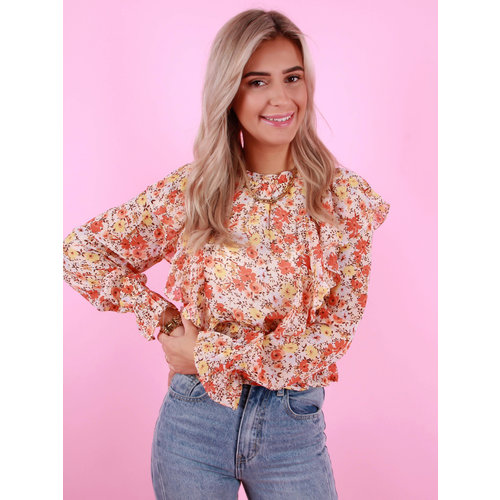 VERA & LUCY Long Sleeve Printed Ruffle Top Orange