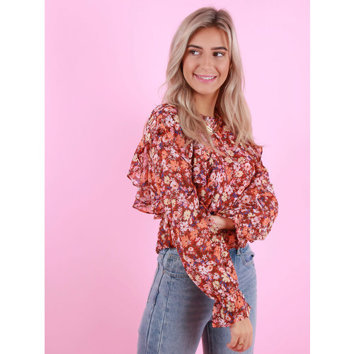 VERA & LUCY Long Sleeve Printed Ruffle Top Red