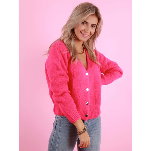 MAELYS Gold Button Cardigan Fuchsia