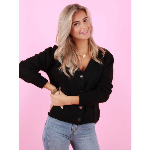 MAELYS Gold Button Cardigan Black