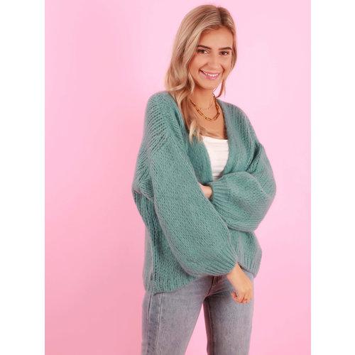 MIKA ELLES Knitted Cardigan Aqua
