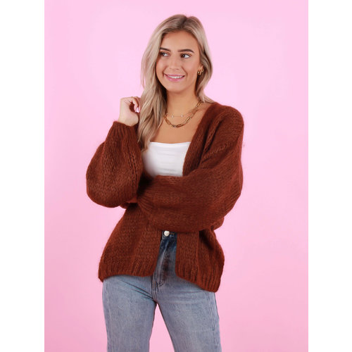 MIKA ELLES Knitted Cardigan Dark Brown