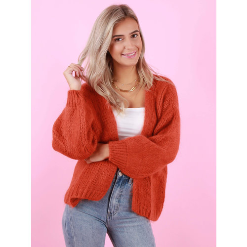 MIKA ELLES Knitted Cardigan Rust