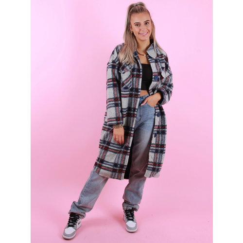 JS MILLENIUM Long Checkered Jacket Blue