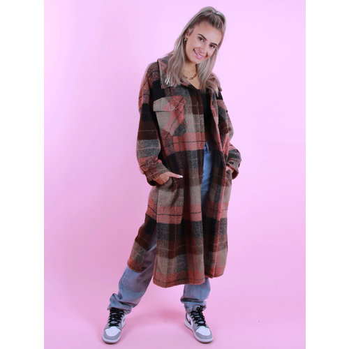 MYBEL Long Checkered Jacket Brown/Pink
