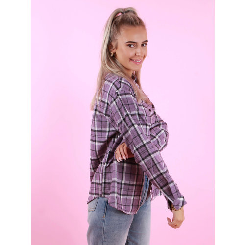 BY CLARA Checkered Blouse Lilac