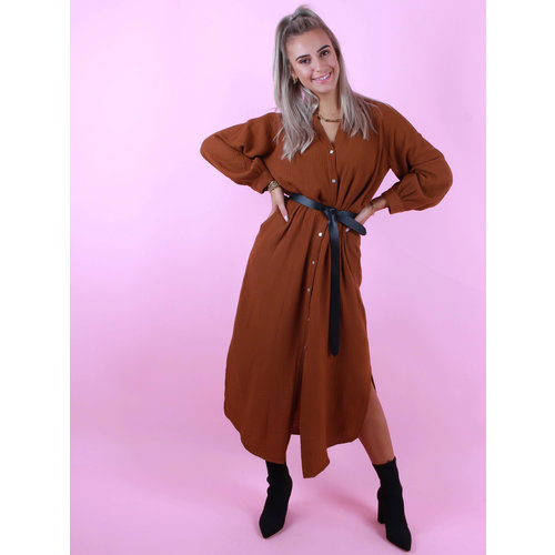 MOMENT Button-Down Shirt Dress Camel