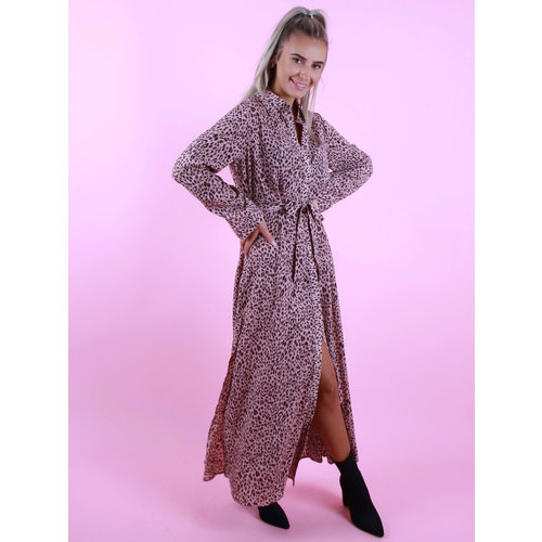 BY CLARA Maxi Leopard Dress Pink