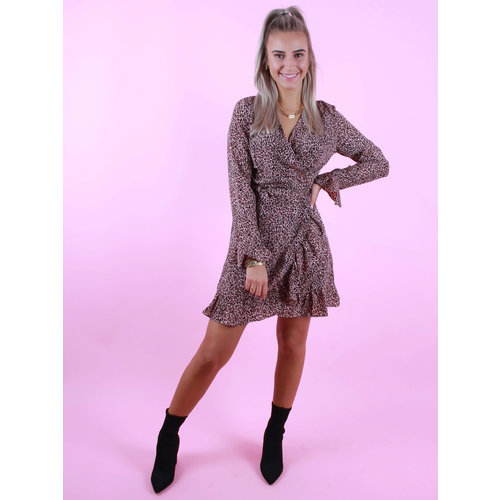 BY CLARA Wrap Dress Small Leopard Print Pink