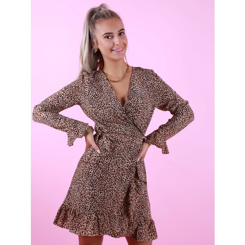 BY CLARA Wrap Dress Small Leopard Print Brown