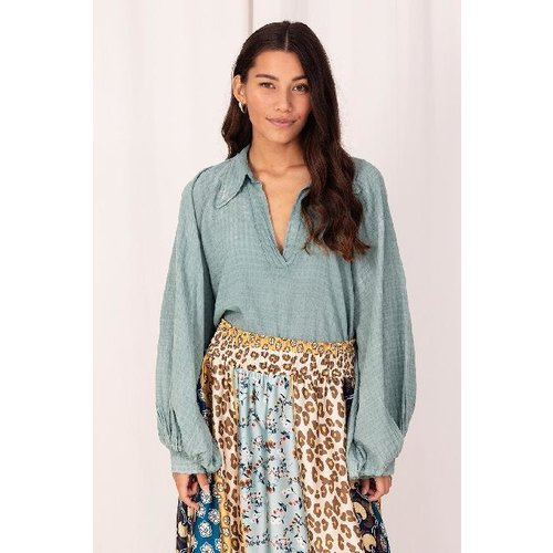 GARCONNE Blouse Cotton with Puff Sleeves Blue