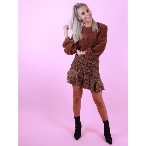 VERA & LUCY Leopard Skirt Camel