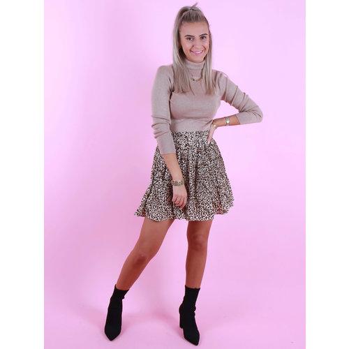 BY CLARA Plisse Skirt Leopard Print Beige