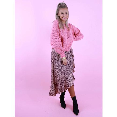 BY CLARA Midi Skirt Leopard Print Pink