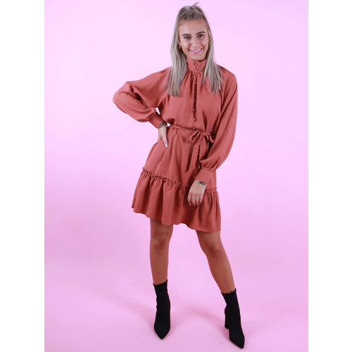 JO.CHARLINE High Neck Dress Rust