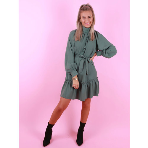 JO.CHARLINE High Neck Dress Green