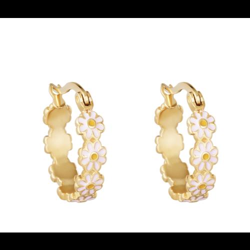 LADYLIKE Earrings Daisy Hoops Gold/Pink