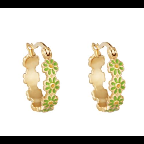 LADYLIKE Earrings Daisy Hoops Gold/Green
