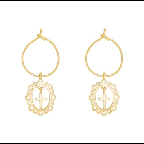 LADYLIKE Earrings Antique Cross Gold